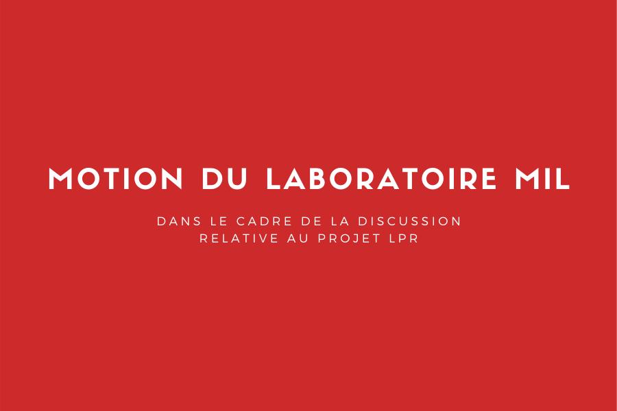 Motion du laboratoire MIL - 16 novembre 2020 - Projet LPR